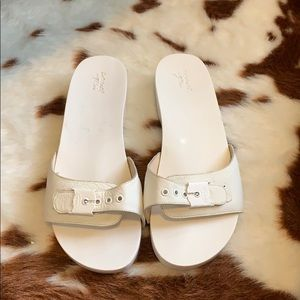 Dr Scholls for J Crew white slip on sandals.